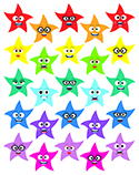 "1"" Colorful Star Smiles"